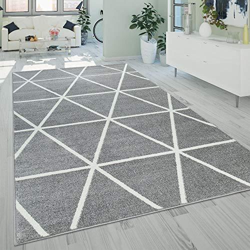Paco Home Wohnzimmer Teppich Moderne Pastell Farben Skandinavischer Stil Rauten Muster, Grösse:160x220 cm, Farbe:Grau