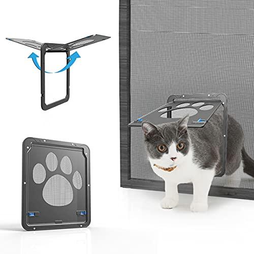 NAMSAN Haustierklappe Fliegengitter mit Magnet Hundeklappe Katzenklappe für Fliegengittertür Abschließbar Haustiertür für Katzen/ Hunde