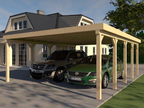 Carport mit Flachdach aus Massivholz