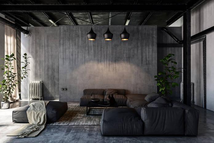 Betonwand im Wohnzimmer